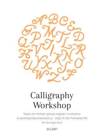 Calligraphy Workshop Announcement Letters on White Poster US Tasarım Şablonu
