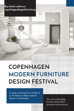 Furniture Festival ad with Stylish modern interior in white