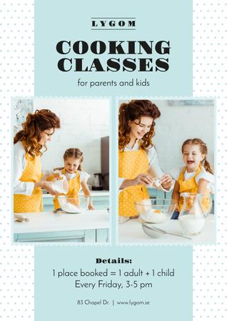Cooking Classes with Mother and Daughter in Kitchen Poster Modelo de Design