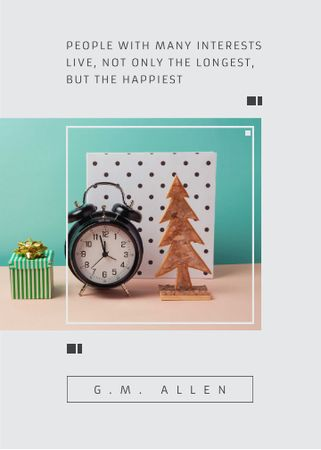 Plantilla de diseño de Inspirational Quote about Interests with alarm clock Invitation