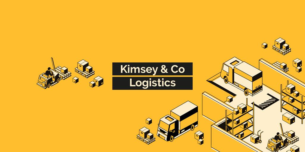 Logistics Company ad with Trucks and Warehouse — Crea un design