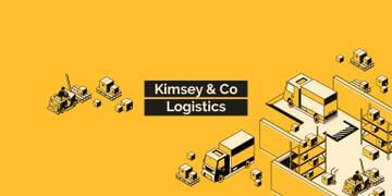 Logistics Company ad with Trucks and Warehouse