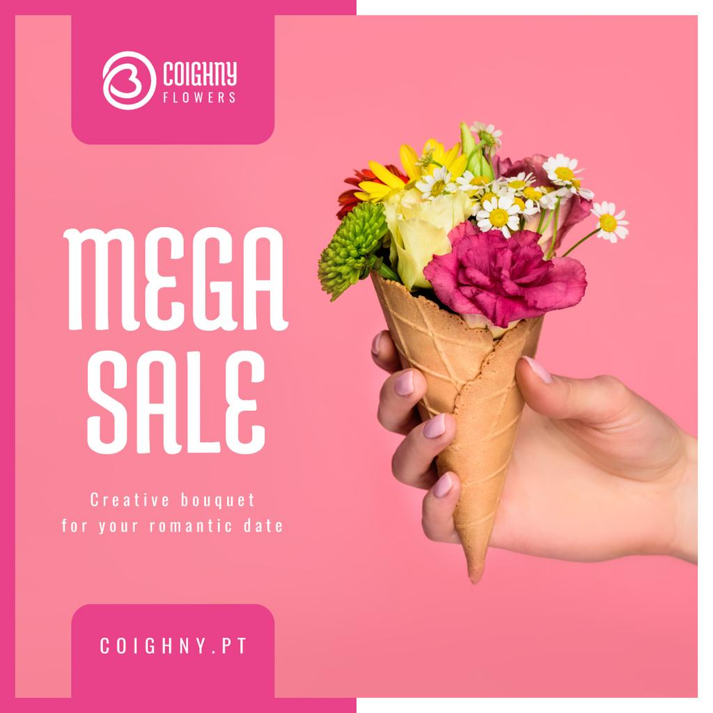 Sale Announcement Hand Holding Waffle with Flowers — Modelo de projeto