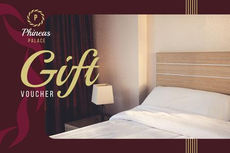 Hotel Offer with Cozy Bedroom Interior Gift Certificate Tasarım Şablonu