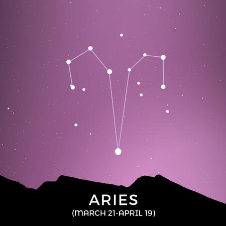 Modèle de visuel Night Sky with Aries Constellation - Animated Post
