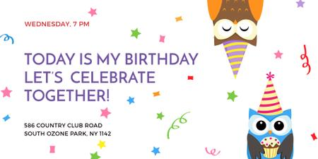 Plantilla de diseño de Birthday Invitation with Party Owls Twitter