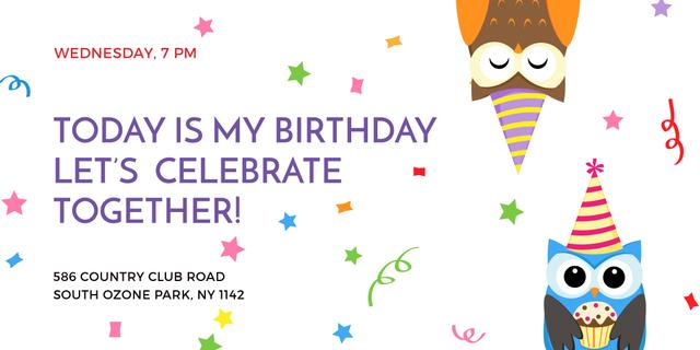 Birthday Invitation with Party Owls Twitter Design Template