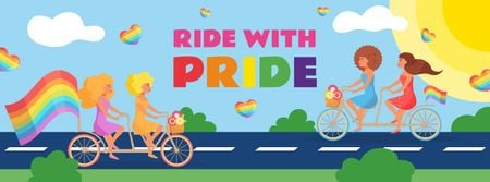 Designvorlage People riding bikes with rainbow flags on Pride Day für Facebook cover