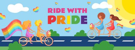 People riding bikes with rainbow flags on Pride Day Facebook cover Modelo de Design