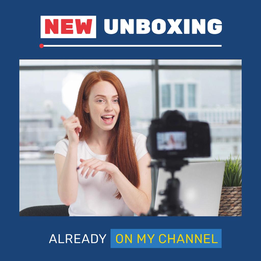 Woman Video Blogger Presenting by Camera — Створити дизайн