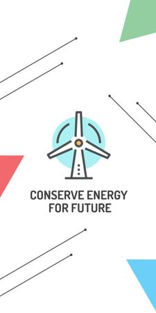 Szablon projektu Conserve Energy Wind Turbine Icon Graphic
