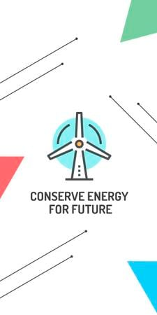 Plantilla de diseño de Conserve Energy Wind Turbine Icon Graphic