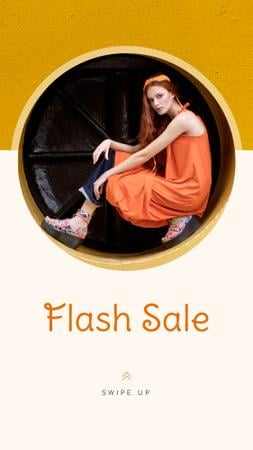 Fashion Sale stylish Woman in Orange Instagram Story Modelo de Design