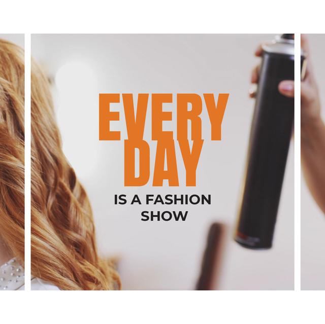Plantilla de diseño de Stylist spraying female hair Animated Post
