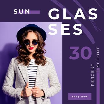 Glasses Offer Woman Wearing Sunglasses on Purple | Square Video Template