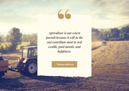 Tractor working in field and Quote Postcard Modelo de Design