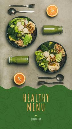 Healthy Food Offer with Vegetable Bowls Instagram Story Modelo de Design