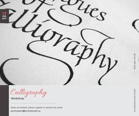 Calligraphy Workshop Announcement Decorative Letters Facebook Tasarım Şablonu