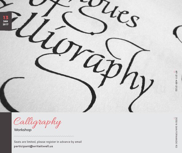 Modèle de visuel Calligraphy Workshop Announcement Decorative Letters - Facebook