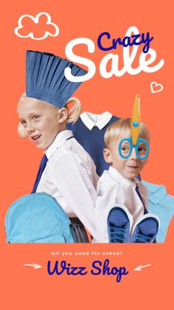 Designvorlage School Sale Offer Kids in Uniform and Stationery für Instagram Video Story