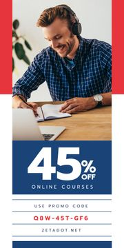 Education Courses Ad Smiling Man with Laptop