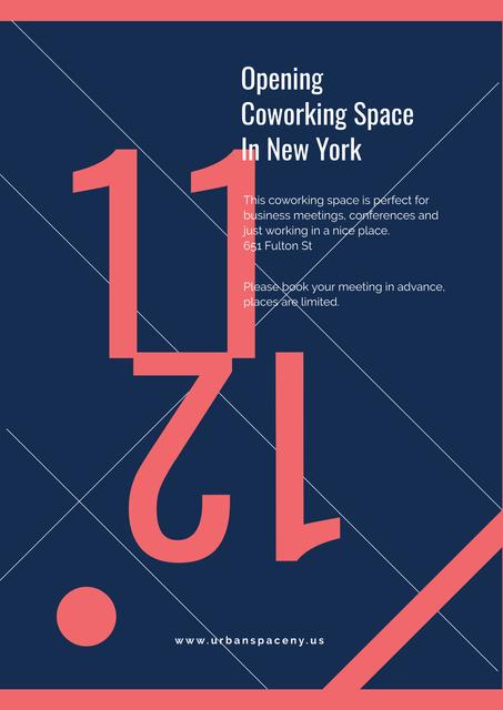 Opening coworking space announcement Poster Modelo de Design
