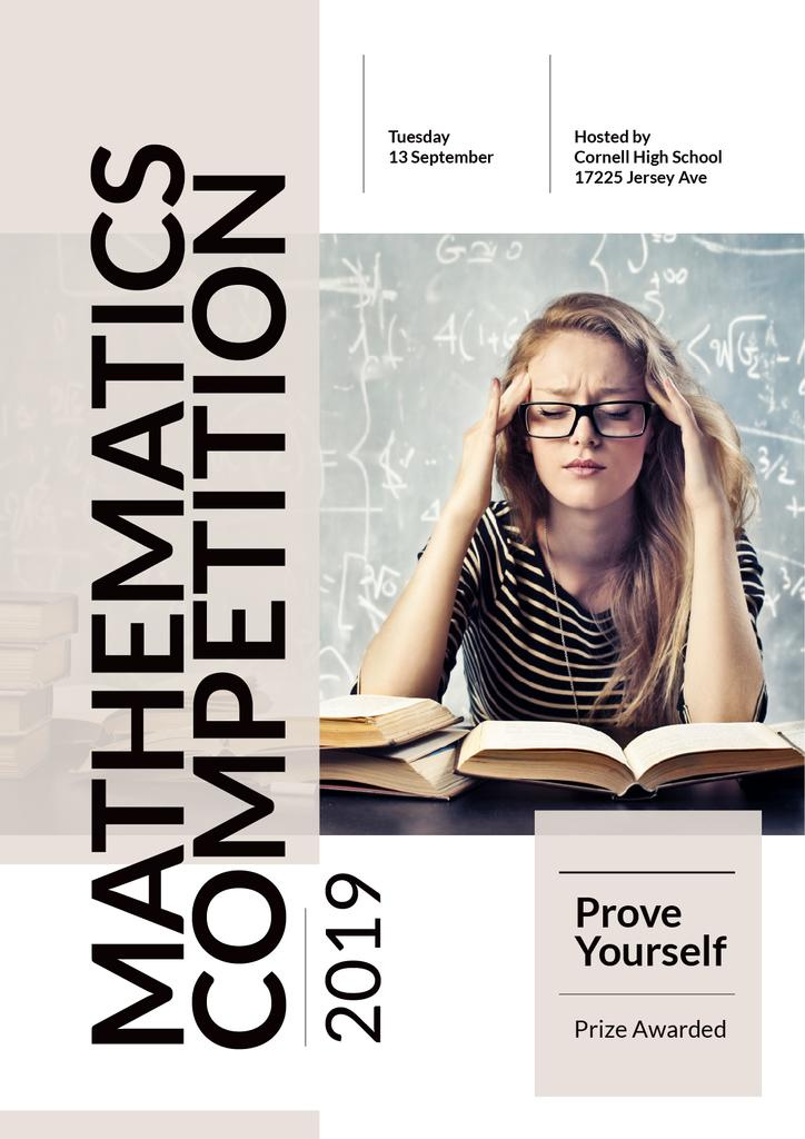 Mathematics Competition Announcement Girl Staying | Poster Template — Create a Design