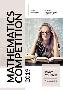 Mathematics Competition Announcement Girl Staying | Poster Template