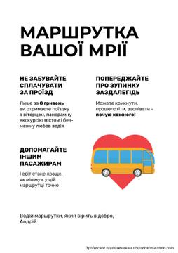 Public Transport Announcement Bus in Heart Symbol | Poster Template