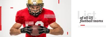 Football Player Holding Ball in Red | Tumblr Banner Template