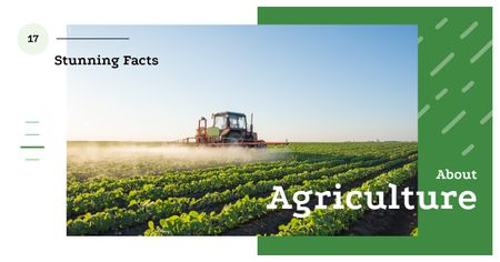 Designvorlage Agriculture Facts Tractor Working in Field für Facebook AD