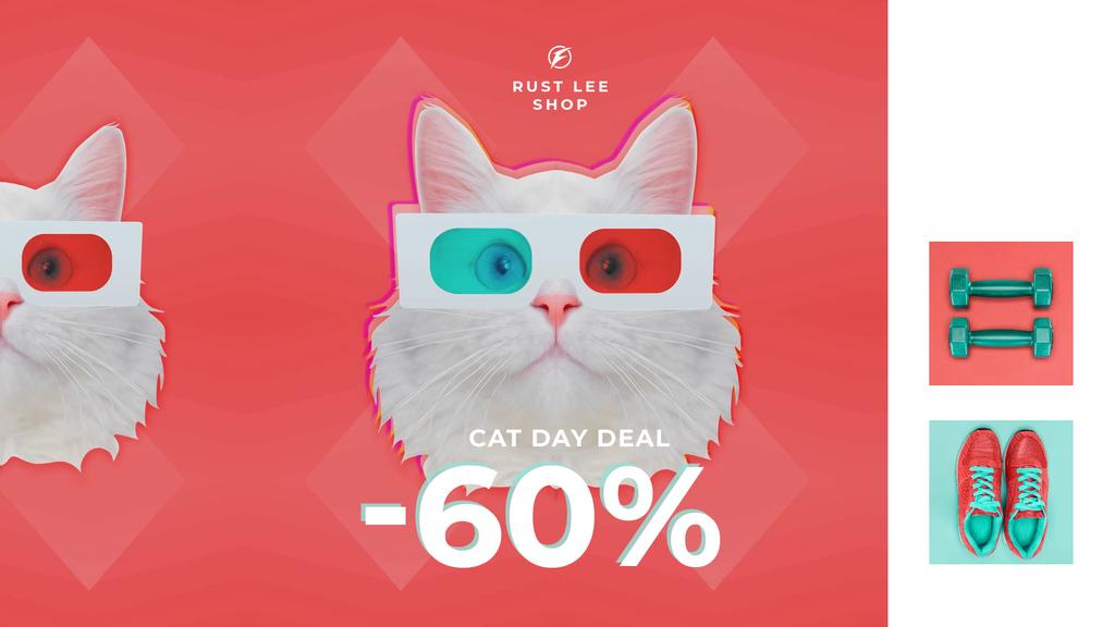 Cat Day Deal Funny Cat in 3D Glasses — Modelo de projeto