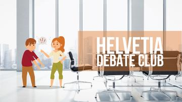 Debate Club Ad People Having an Argument in Office