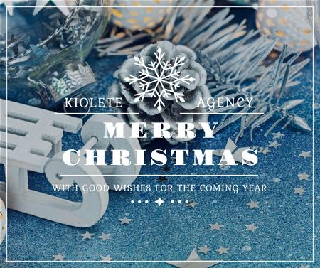 Template di design Christmas Greeting Shiny Decorations in Blue Facebook