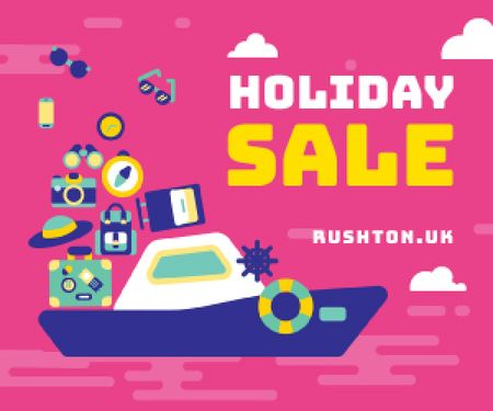 Szablon projektu Holiday Sale Travelling Stuff on Boat Medium Rectangle