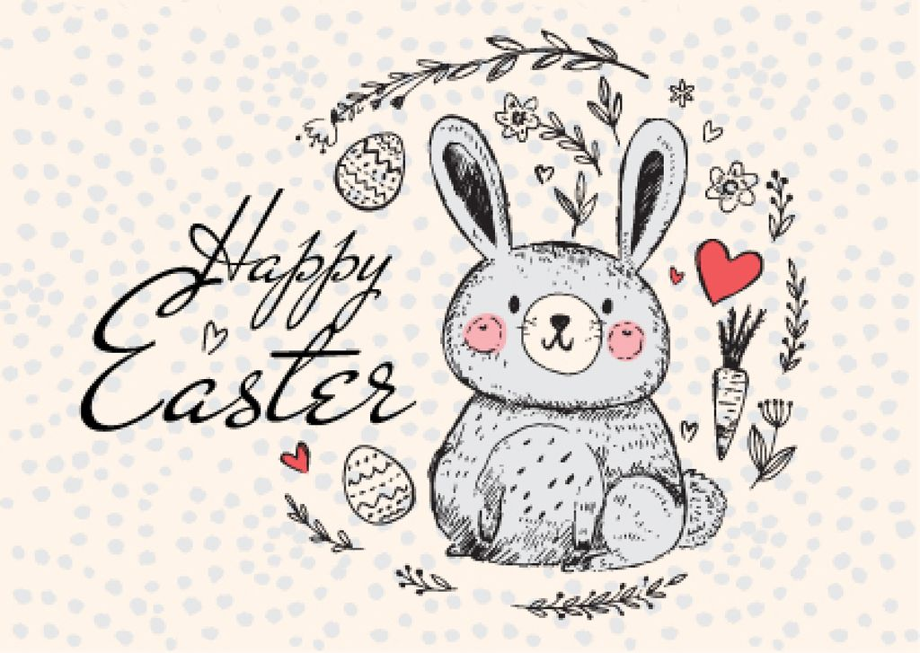 Happy Easter Greeting with Cute Bunny in Wreath — Modelo de projeto