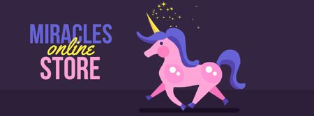 Modèle de visuel Running cute unicorn - Facebook Video cover