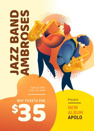Template di design Jazz Festival Musicians Playing Saxophones Flayer