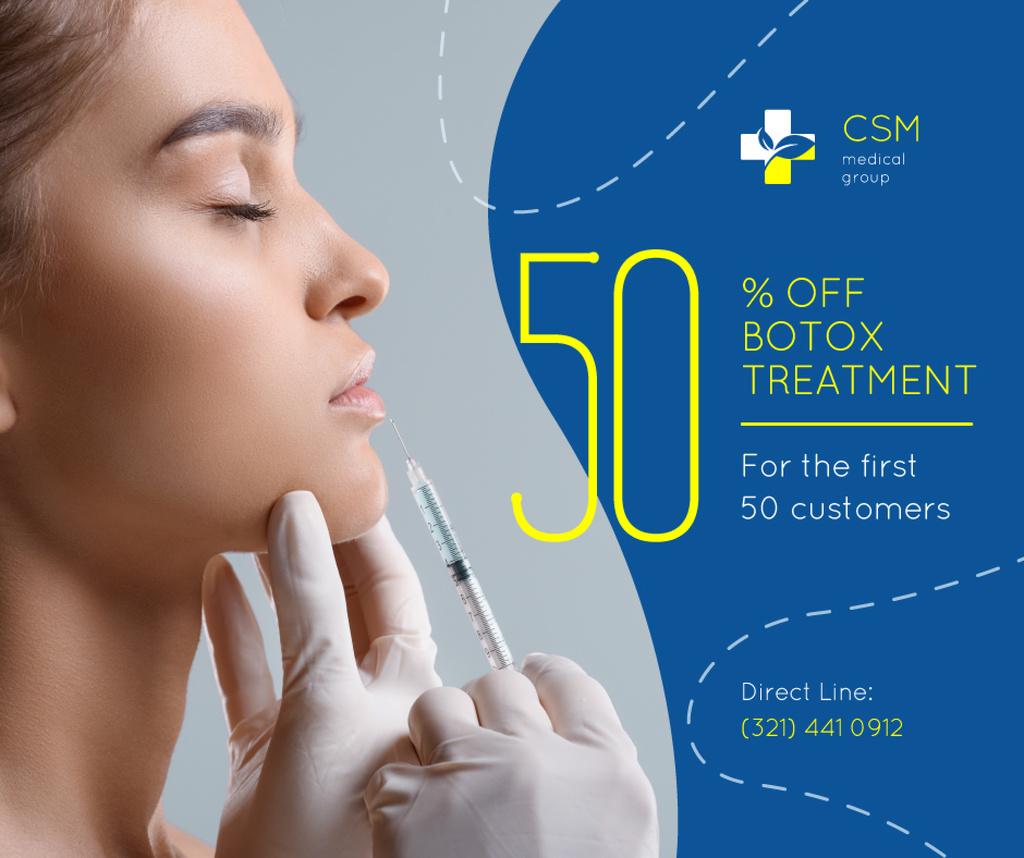 Medical Clinic Offer Woman at Botox Injection Facebook Tasarım Şablonu