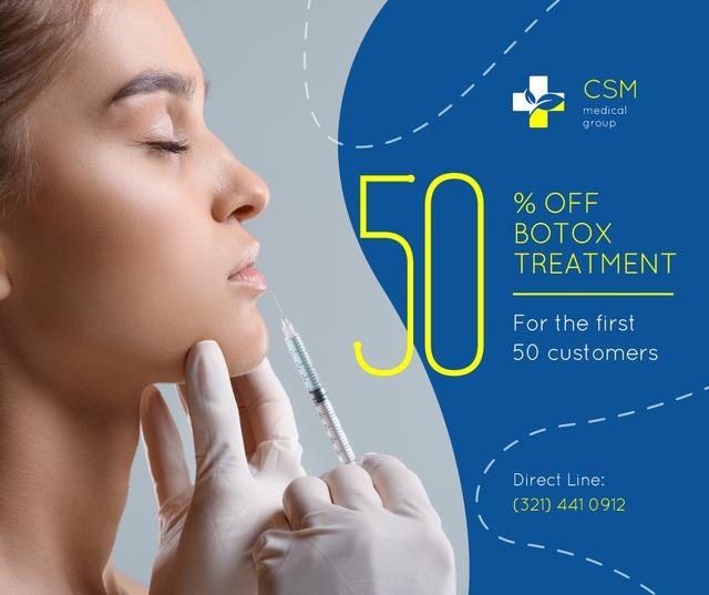 Template di design Medical Clinic Offer Woman at Botox Injection Facebook