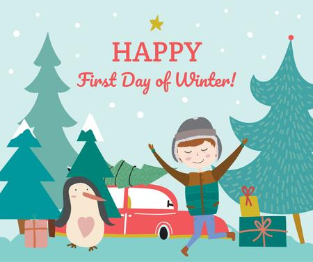 Template di design First day of Winter greeting with penguin and boy Facebook