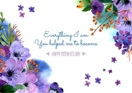 Happy Mother's Day postcard with Tender Flowers Postcard Design Template