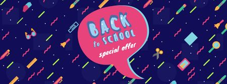 Back to school doodles with speech bubble Facebook Video cover – шаблон для дизайну