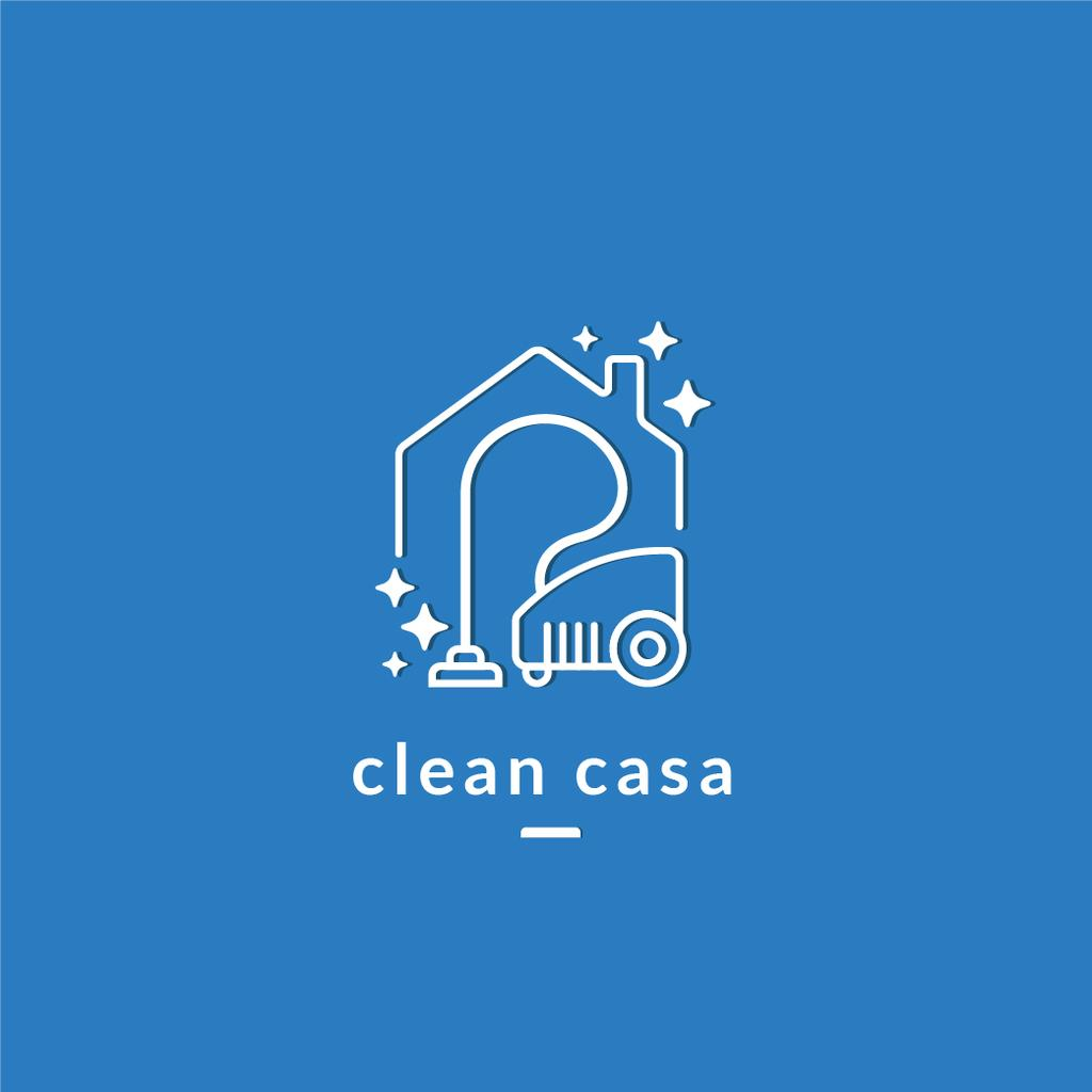 Cleaning Services Ad with Vacuum Cleaner in Blue — Создать дизайн