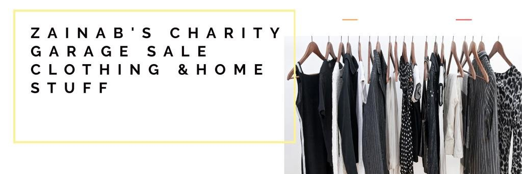 Charity Sale Announcement Black Clothes on Hangers —デザインを作成する
