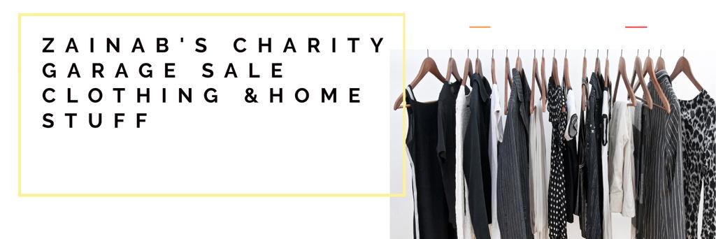 Charity Sale Announcement Black Clothes on Hangers — Maak een ontwerp
