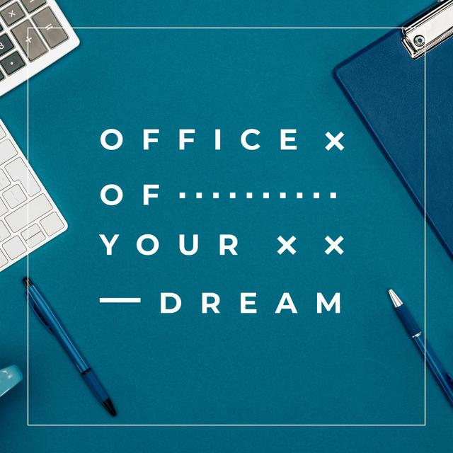 Ontwerpsjabloon van Instagram van Office Stationery on Blue Table