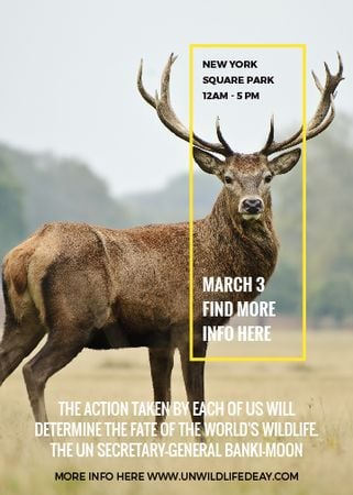 Ontwerpsjabloon van Invitation van Eco Event announcement with Wild Deer