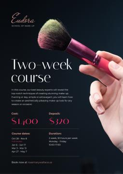 Makeup Courses Promotion Hand with Brush | Poster Template