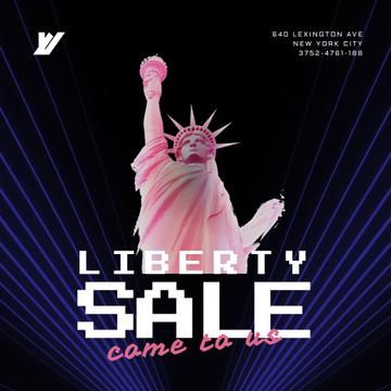 Independence Day Greeting with Pink Liberty Statue Animation